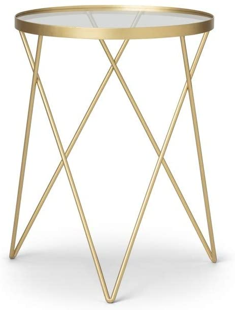 LIFA LIVING Gold Metal Glass Side Table | ZedHouses