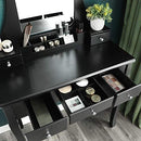VASAGLE Dressing Table Set with Large Frameless Mirror, Makeup Table for Bedroom, Bathroom, 5 Drawers and 1 Removable Storage Box, Cushioned Stool, Black RDT25BK