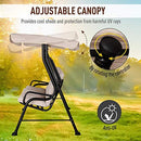 Outsunny 3 Seater Outdoor Garden Swing Chairs Thick Padded Seat Hammock Canopy Porch Patio Bench Bed - Beige