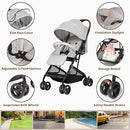 Hadwin Lightweight Stroller, Portable Baby Pushcahir with Rain Cover, One-Hand Foldable Compact Travel Baby Buggy, Five-Point Harness, Adjustable Backrest & Footrest, Great for Airplane, Grey