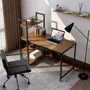 Tower Computer Desk with Shelves - 47.6 inch Study Desk with Bookshelves Compact Modern Steel Frame Wood Desk Home Office Workstation Walnut