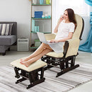 COSTWAY Nursing Glider and Footstool, Reclining Maternity Chair