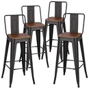 INMOZATA Bar Stools Set of 4, kitchen Breakfast Counter Stool Bistro Stool Bar High Chair Metal legs Wooden Seat