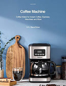 Yabano Filter Coffee Machine with Insulated Jug 1.8L, Timer Feature, Anti-Drip System, Stainless Steel, 900W