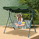 Outsunny 3 Seater Canopy Swing Chair Heavy Duty Outdoor Garden Bench with Sun Cover Metal Frame - Green & White