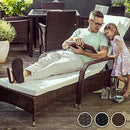 TecTake Rattan day bed sun canopy lounger