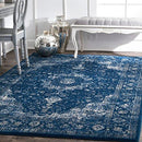 nuLOOM Distressed Persian Carpet & Rug, Dark Blue, 61 x 91 cm
