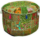 Bohemian Vintage Embroidered Pouf Ottoman Footstool Cover Indian Round Ottoman Stool Pouf Pillow, Ethnic Embroidered Pouf Cover, Indian Cotton Round Pouffe Ottoman Pouf Cover Pillow Ethnic Decor Art, 14x22 Inch. By Bhagyoday