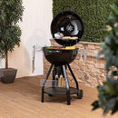 Fire Mountain Large Kettle BBQ Charcoal Grill with Cover & Tools | Warming Rack and Storage Basket | 57cm Diameter | Outdoor Cooking