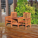 garden mile® Acacia Hardwood Garden Love Seat Twin Jack And Jill Seat With square Table. Wooden Garden Bench Companion Seat Set Outdoor Garden Tete-a-Tete Seat Garden Furniture