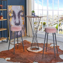 Duhome Set of 2 Fabric Velvet BarStools | ZedHouses