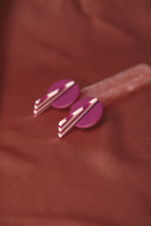 Vintage Bakelite Purple Candy Earring