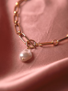 Drop Pearl Chain Necklace