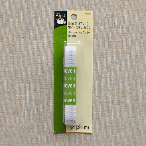 "Dritz : White Ribbed Non-roll Elastic : 1/2"" x 1 yard"