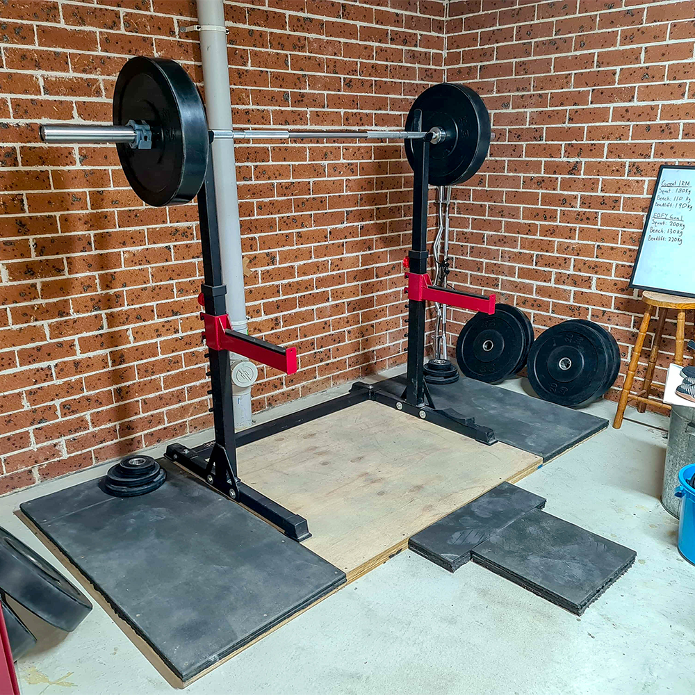 Adjustable Squat Stands, Gym Bench, Weight Bumper Plates, Olympic Barbells
