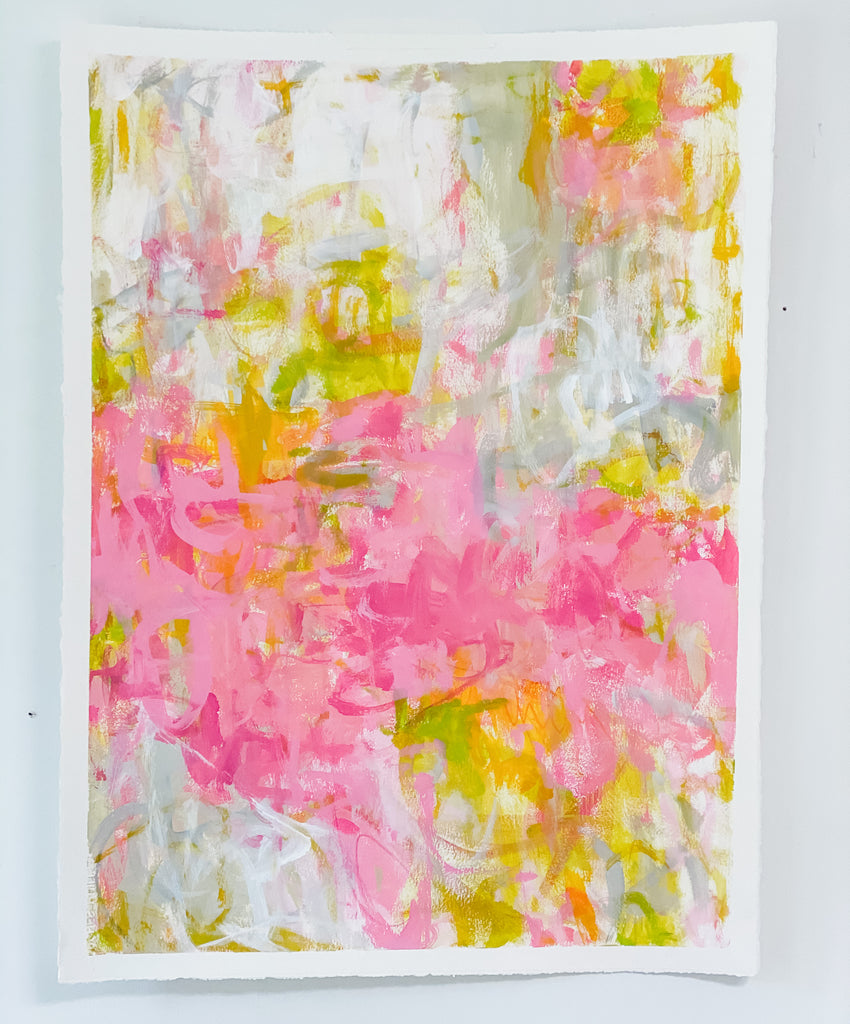 "Pink & Green Abstract No. 1  <br>30"" x 22"""