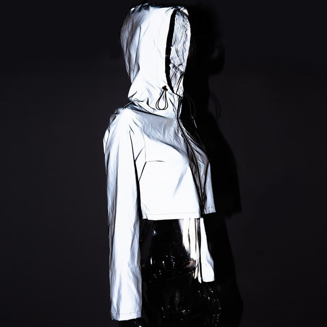 Reflective Crop Top Jacket-Jackets-Mon Stop Shop