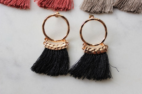 Laalee Jewelry - Hoop Tassel Earrings - Choose Color!