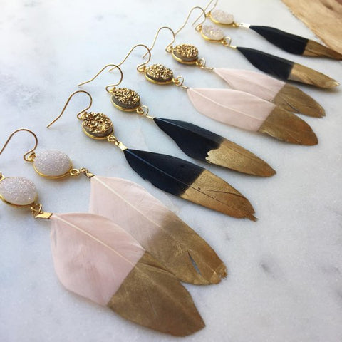Laalee Jewelry - Gold Dipped Feather Earrings