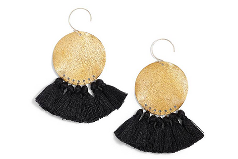 Lunar Sparkle Tassel Earrings - Black