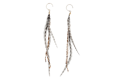 Glistening Feather Earrings - Gold/Stripe