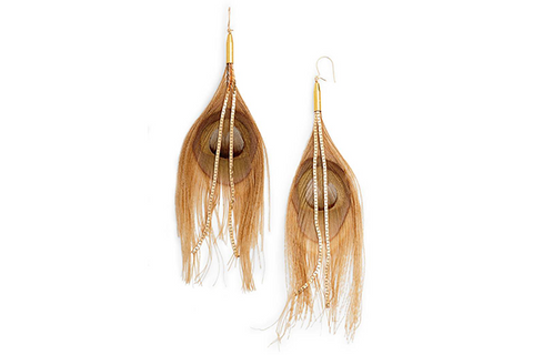 Peacock Feather Earrings - Taupe