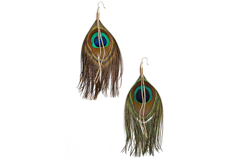 Peacock Feather Earrings - Turquoise