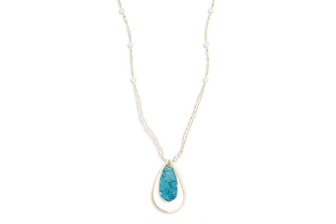 Drusy Teardrop Pendant Necklace