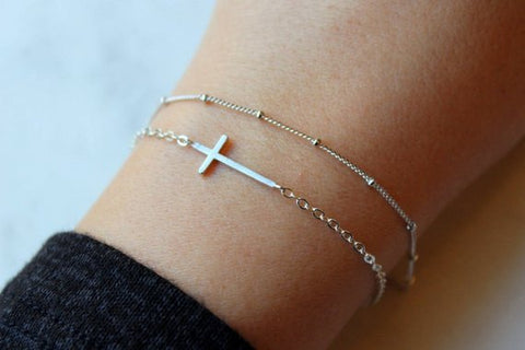 Laalee Jewelry - Dainty Bracelet Set Silver Sideways Cross