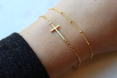 Laalee Jewelry - Dainty Bracelet Set Gold Sideways Cross
