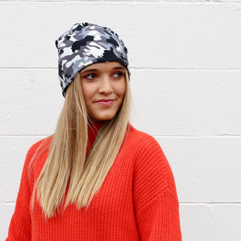 Pretty Simple - Black Camo Peek-a-Boo Beanie