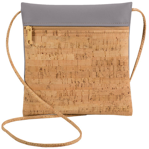 Natalie Therese - Be Lively Small Cross Body Bag | Rustic Cork + Faux Leather