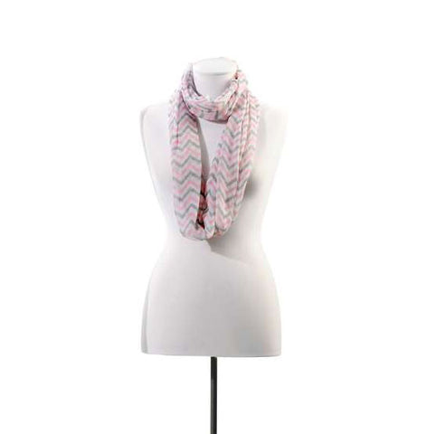 Pink/Grey Iconic Chevron Scarf