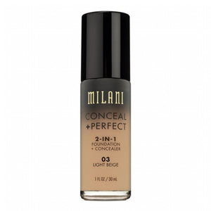 MILANI FOUNDATION CONCEAL PERFECT 2-IN-1 FOUNDATION 03 LIGHT BEIGE