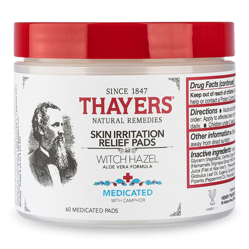 Thayers Witch Hazel Astringent Pads with Aloe Medicated - 60 ct