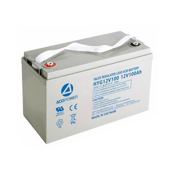 12-100Ah Rechargeable Gel Deep Cycle 12V 100 Ah Battery with Button Style Terminals by ACOPOWER - Proud Libertarian
