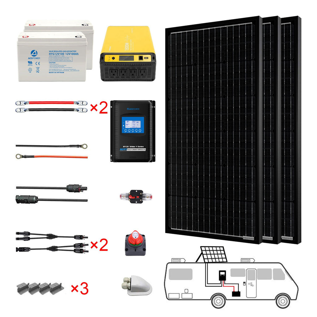 300W Mono Black RV Solar System by ACOPOWER - Proud Libertarian