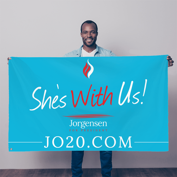 "She's With Us Jo Jorgensen 2020 flag 36"" x 60"" - Proud Libertarian"