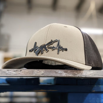 AR Heartbeat Badge Hat - Brushed Bronze and Black - Proud Libertarian