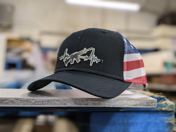 AR Heartbeat Badge Hat - Black and Glow on Stars and Stripes - Proud Libertarian