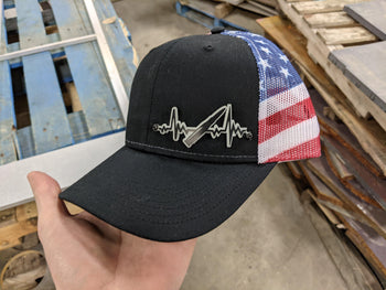 Bullet Heartbeat Badge Hat - Black and Glow on Stars and Stripes by Ikonic Badges - Proud Libertarian