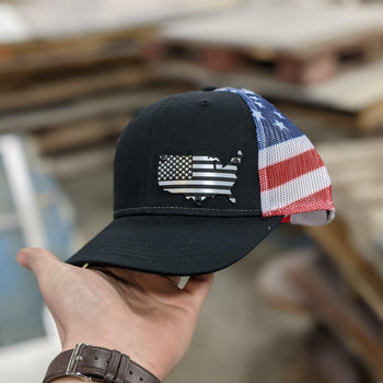 USA American Flag Badge Hat - Brushed Stainless and Black Badge - Proud Libertarian