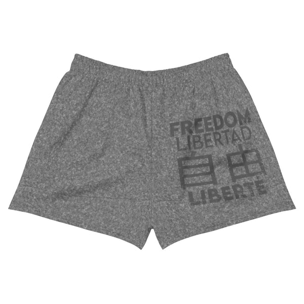 Freedom In Four Languages Athletic Short Shorts - Proud Libertarian