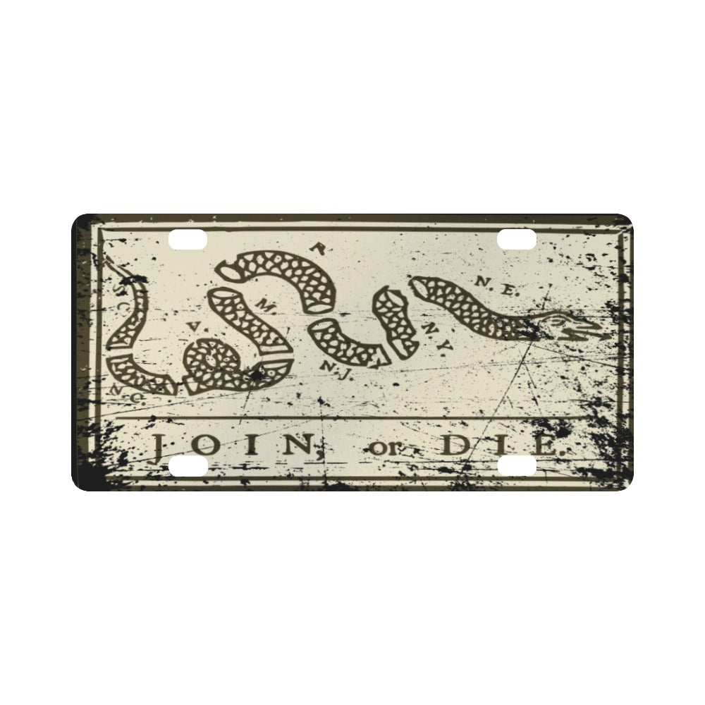 Join or Die Vintage License Plate - Proud Libertarian