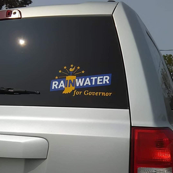 Rainwater for Governor Indiana Vinyl Window Decal - Proud Libertarian