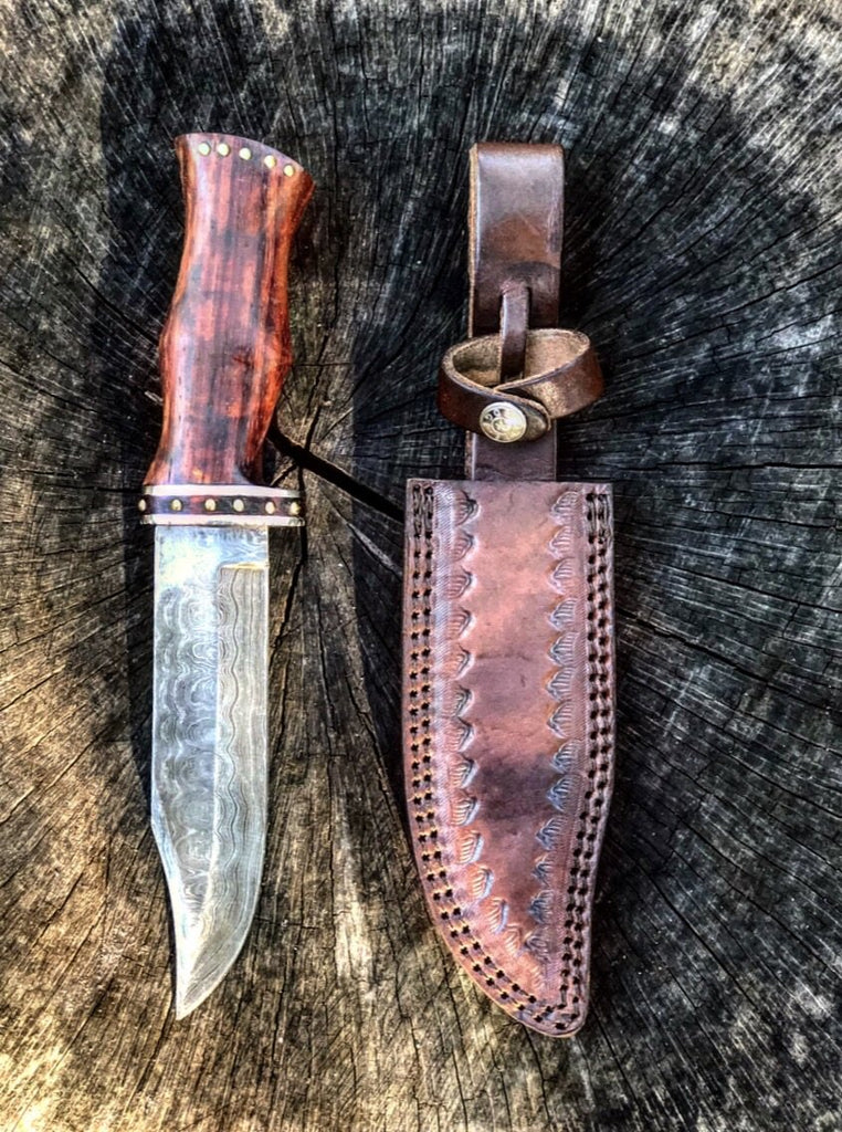 Damascus Steel And Rosewood Hunting Knife -VG 60 - Proud Libertarian