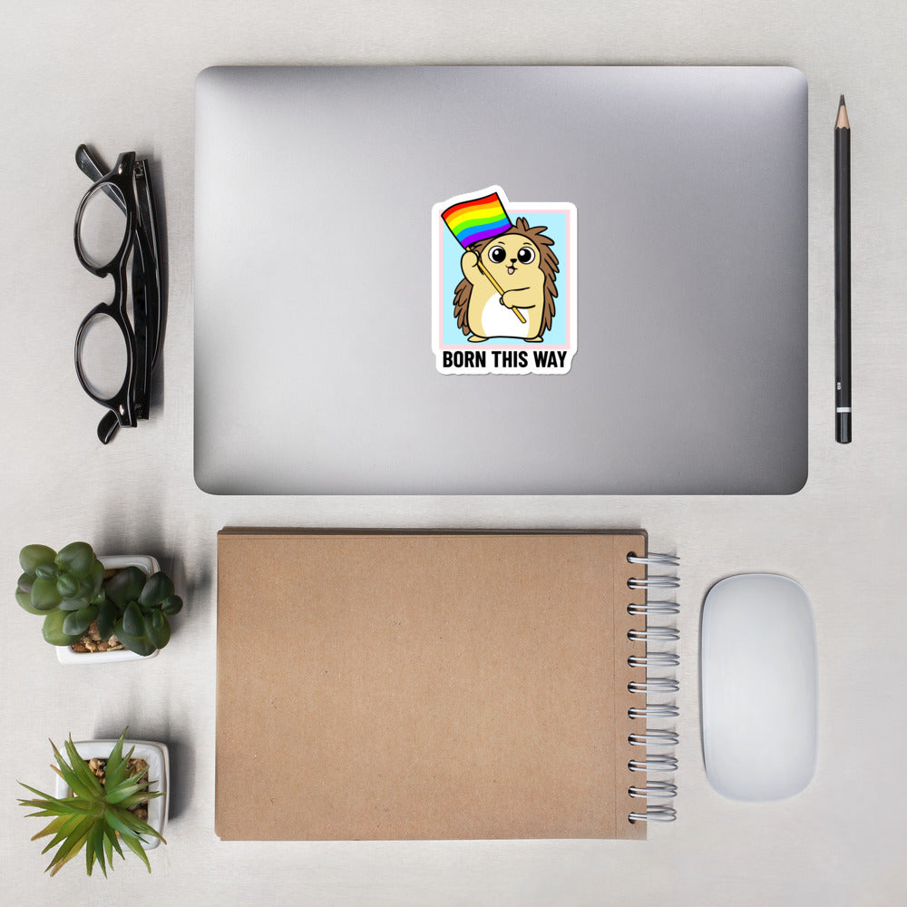 Born this Way LGBT Pride Cartoon Porcupine Bubble-free stickers - Proud Libertarian