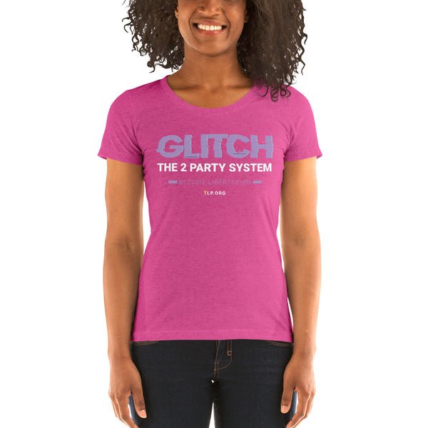 Glitch the Two Party System - Ladies' short sleeve Tri-Blend t-shirt - Proud Libertarian