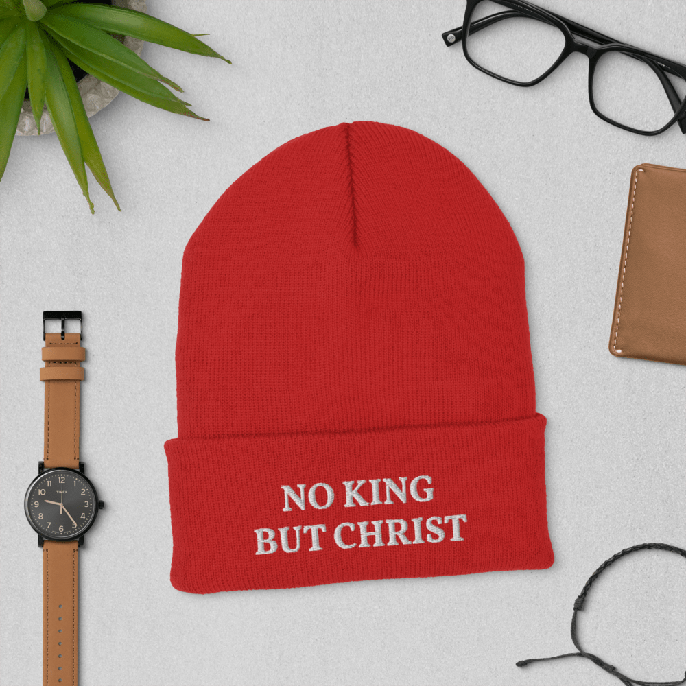AnarchoChristian - No King But Christ Cuffed Beanie