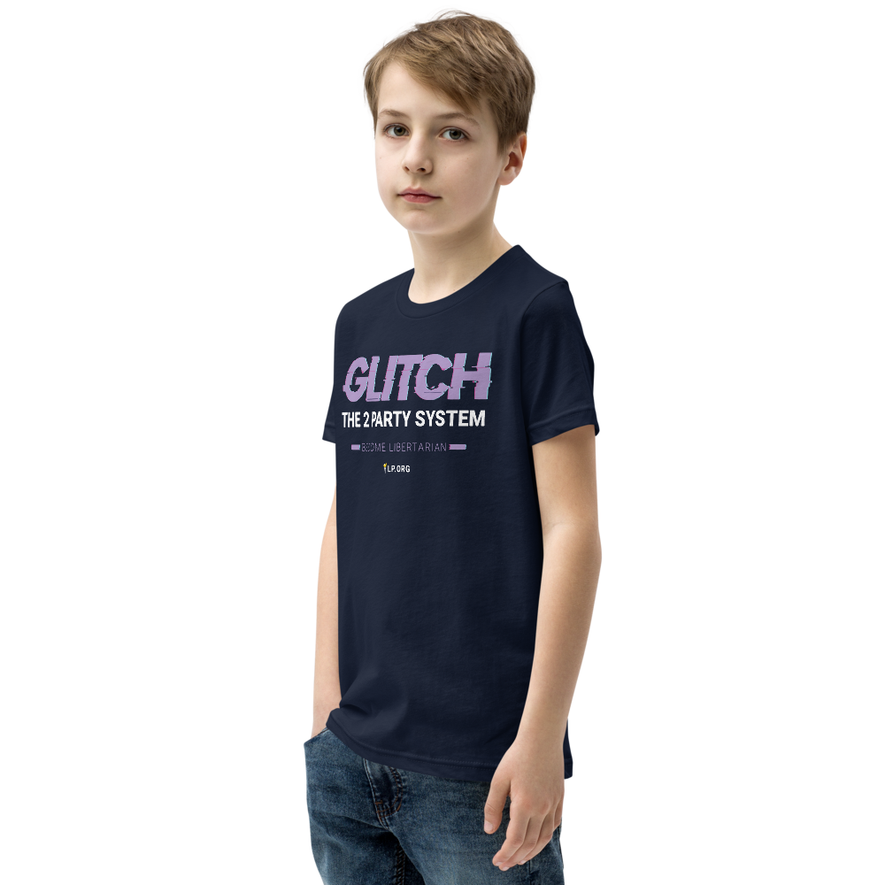 Glitch the Two Party System Youth Short Sleeve T-Shirt - Proud Libertarian